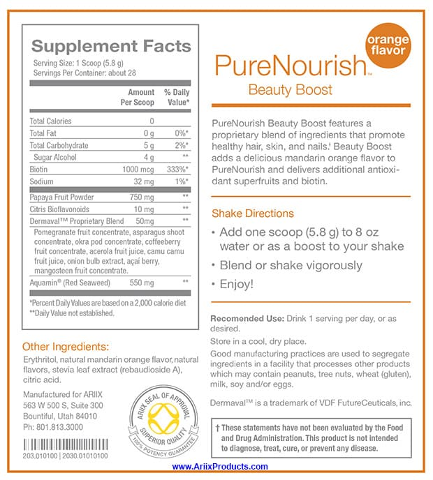 PureNourish Power Boost Supplement Facts