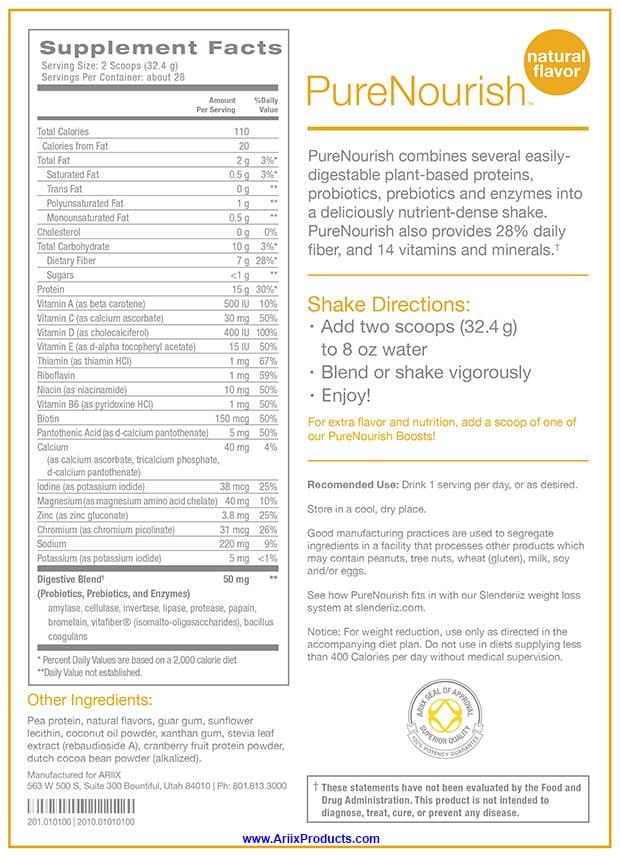 PureNourish Supplement Facts